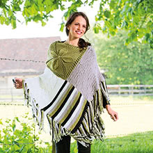 Patchwork-Poncho aus Woll Butt Primo Liska