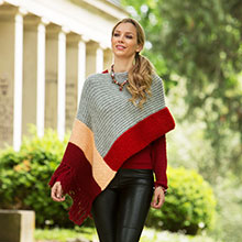Poncho in Colourblocking aus Woll Butt Heidi